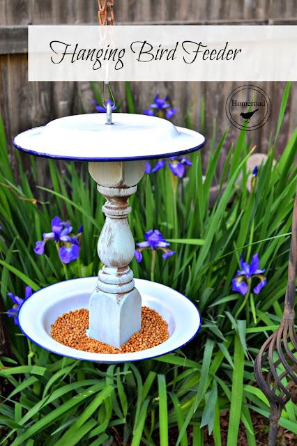 enamelware bird feeder with overlay