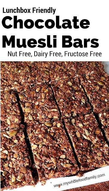 Lunchbox friendly chocolate muesli bars - nut free dairy free fructose free - from www.mywholefoodfamily.com