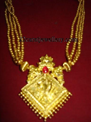Gold Multi Layer Gundlu Mala Traditional Jewellery
