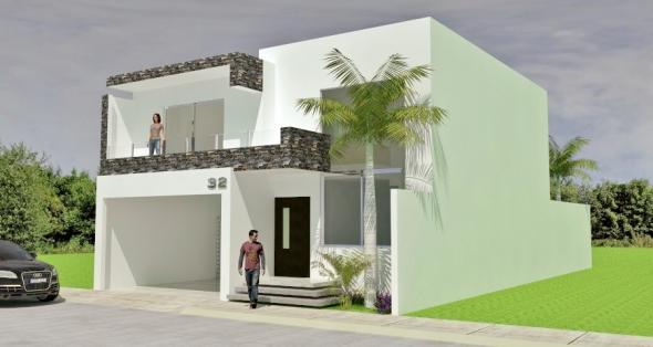 Fachadas minimalistas dise o de fachada minimalista con for Casas estilo minimalista de dos plantas