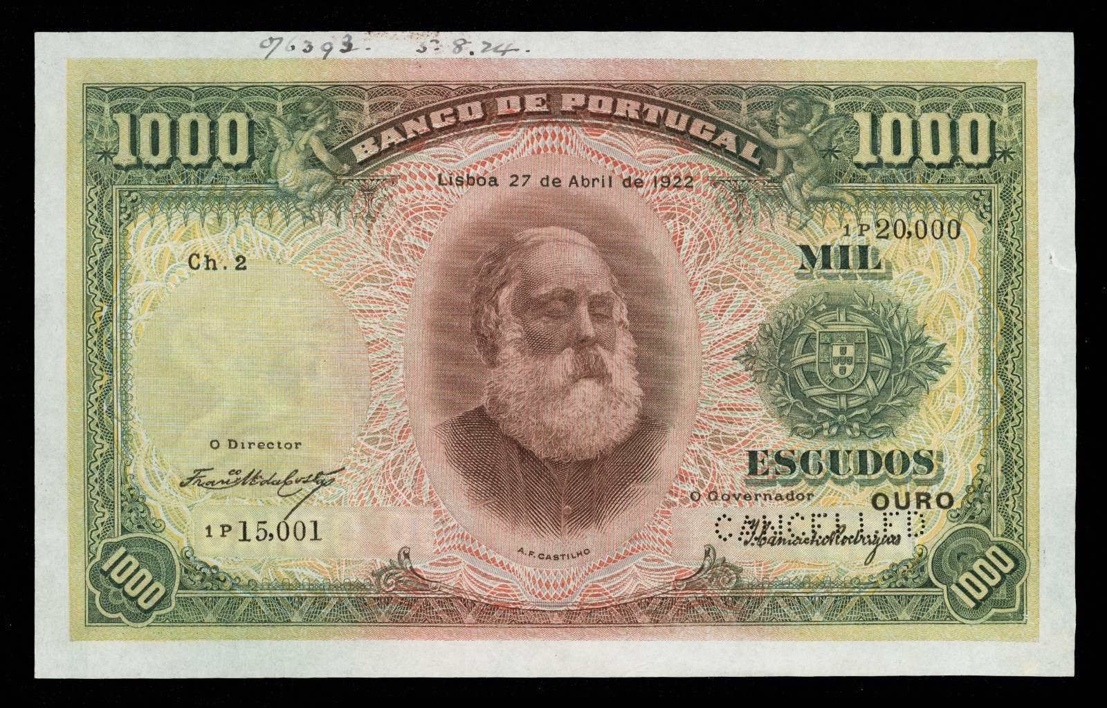 1000 Portuguese Escudo banknote