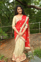 Akshara in Red Saree Golden Choli at LV Movie Makers Production No 1 Movie Opening ~  Exclusive 060.JPG