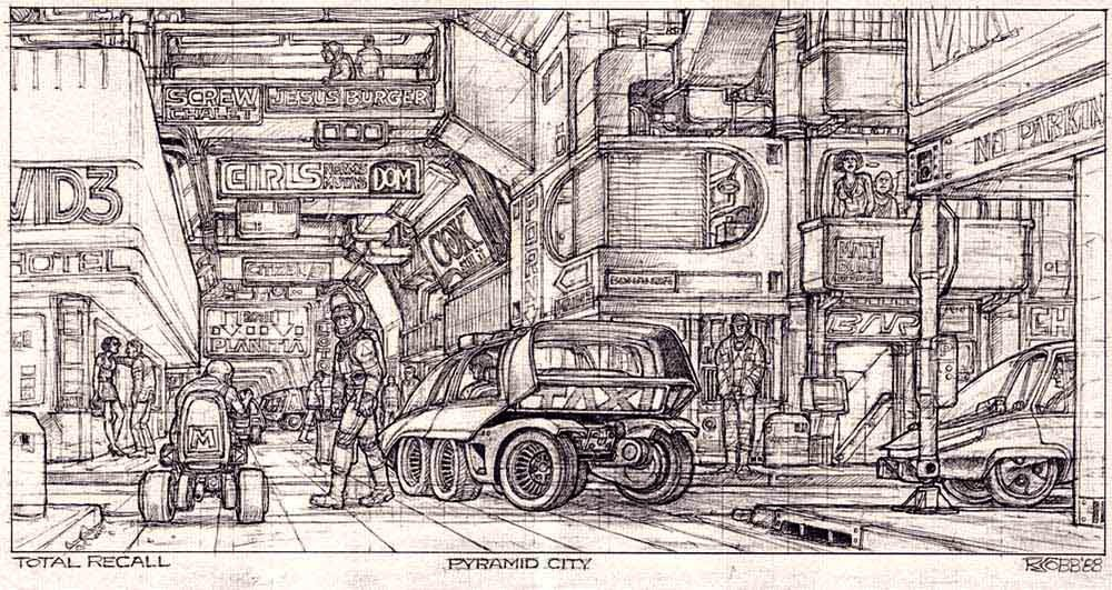 Streets of the Pyramid city - concept art for Total Recall (1990) movie by Ron Cobb.