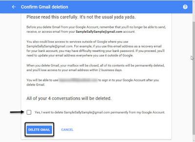 """click """"Delete Gmail."""