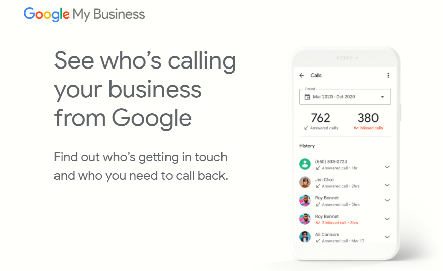 Call history in Google My Business