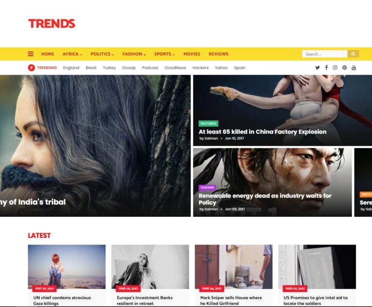 Trends - Premium News Magazine Blogger Template Free Download