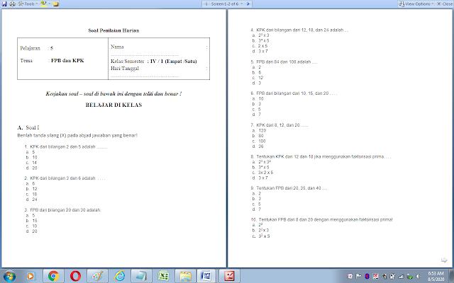 Soal ulangan harian matematika kelas 4 sd: FPB dan KPK