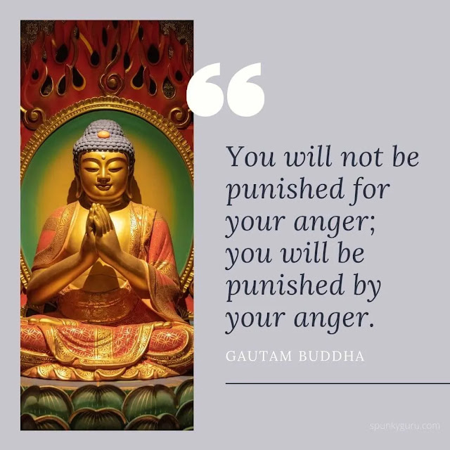 You will not be punished for your anger; you will be punished by your anger.
