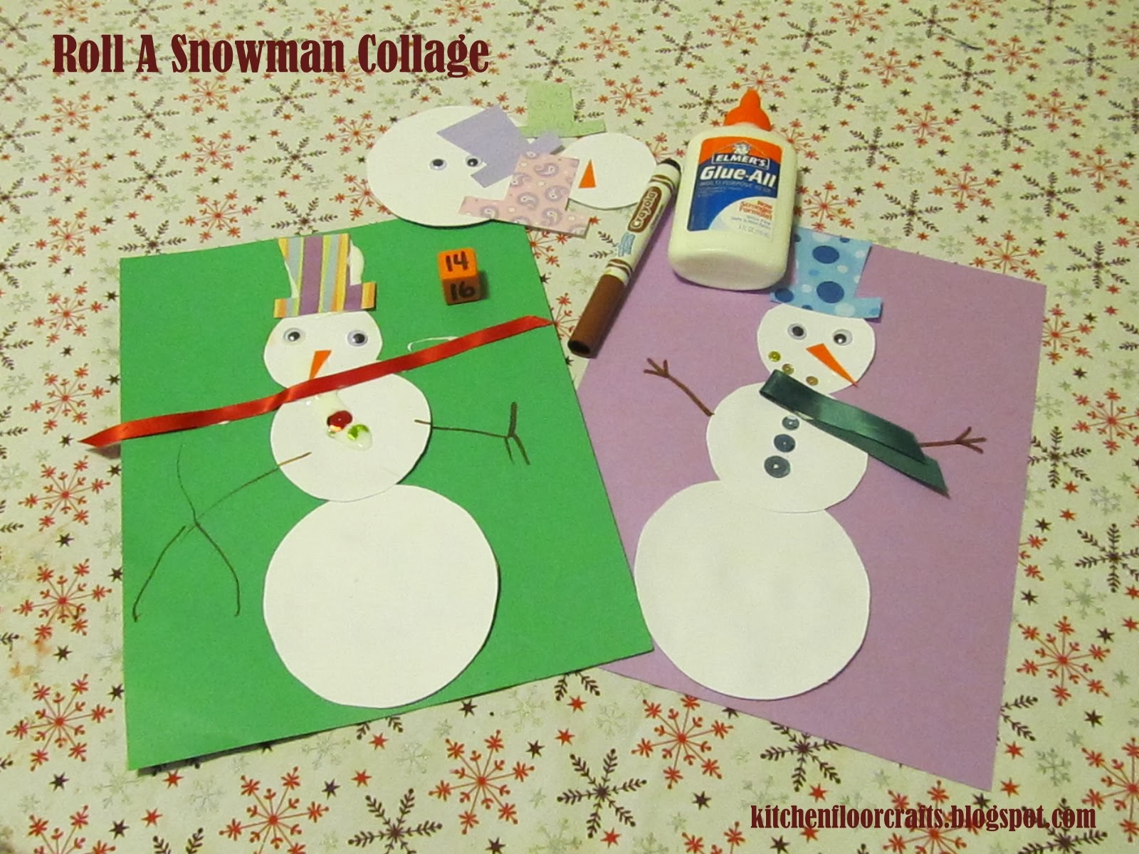 Kitchen Floor Crafts Roll A Snowman Collage