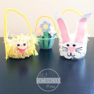 SQUARE easter basket kids spring craft