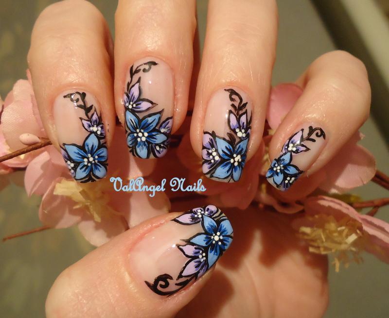 """ValAngel Nails Art: Nail art """"Floral French""""  ValAngel Nails ..."""