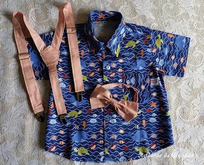 camisa infantil fundo do mar com gravata e suspensório salmão