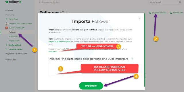 importare follower di feedburner
