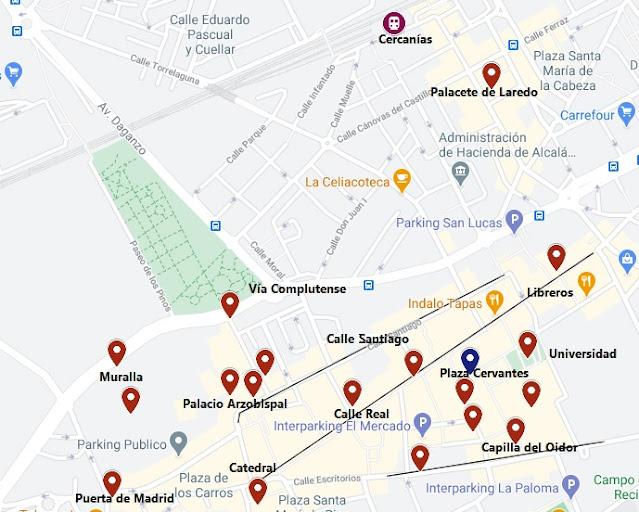 mapa lugares que ver en Alcala de Henares