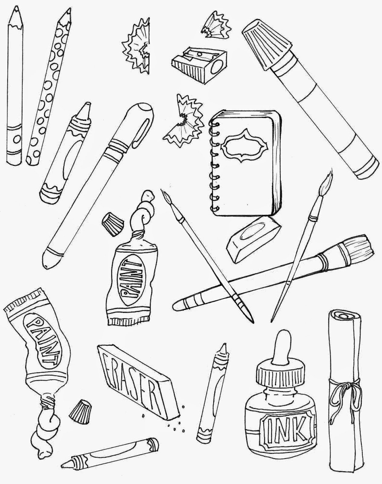 free art supply coloring pages | The Spinsterhood Diaries: September 2014
