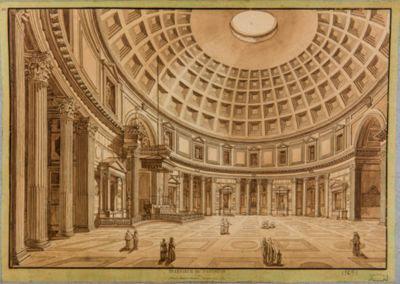 interno del Pantheon (incisione a rame)