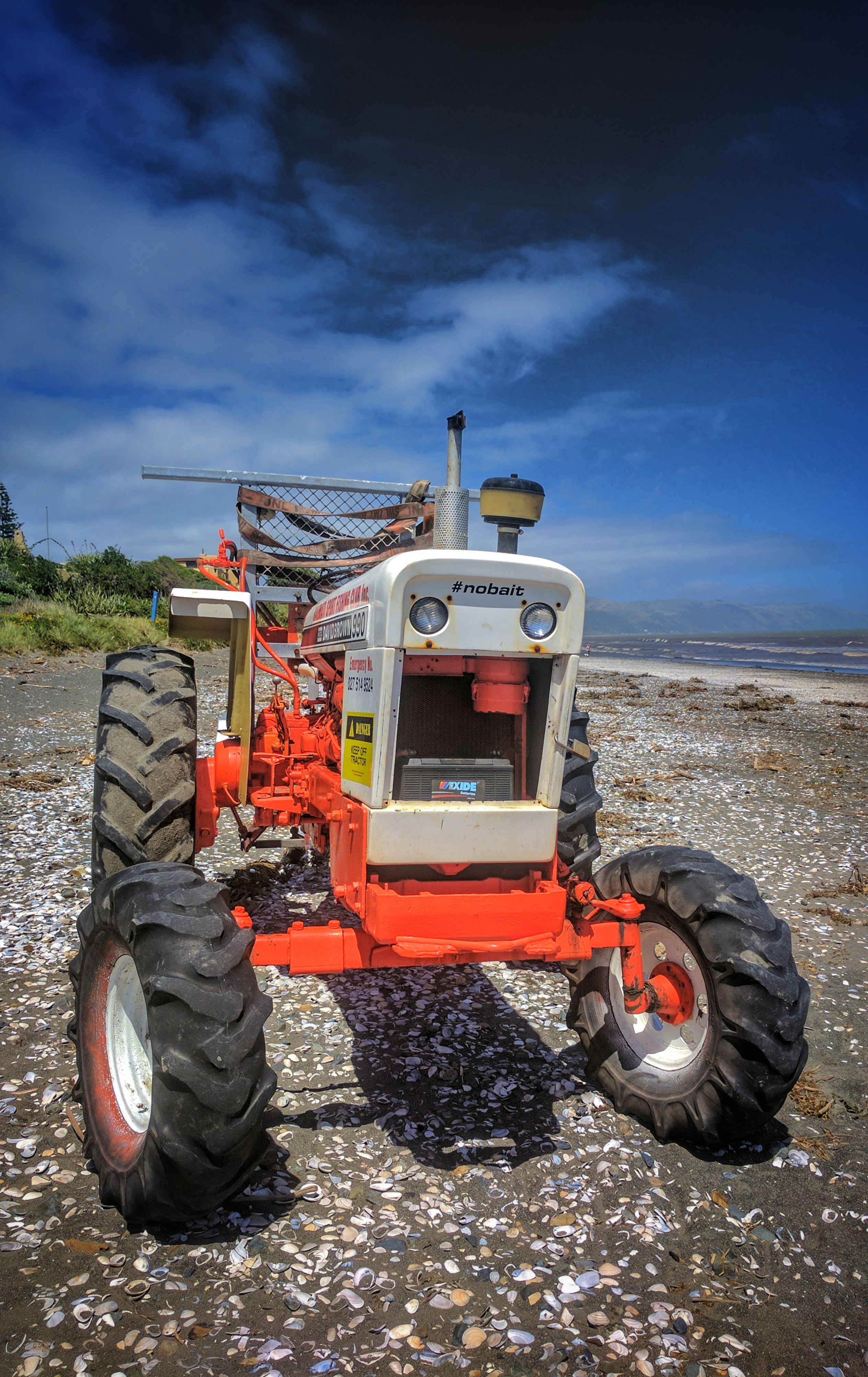 Tractor on a beach (edited)