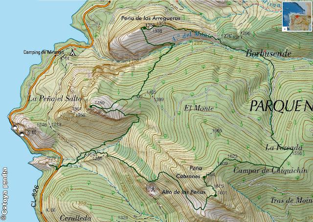 Mapa IGN de la ruta a Peña Cabrones, Arregueras y el Salto desde Mirantes de Luna en la comarca leonesa de Luna.
