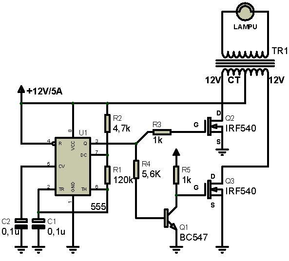 Rangkaian Inverter Dc To Ac Menggunakan Ic Ne555 Dan Irf540 Syarif