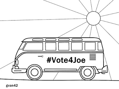 #Vote4Joe VW Bus - Free Coloring Book by gvan42