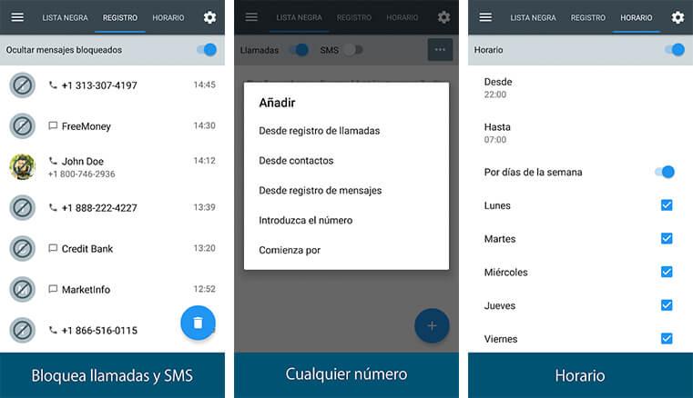 Bloqueador de llamadas y SMS