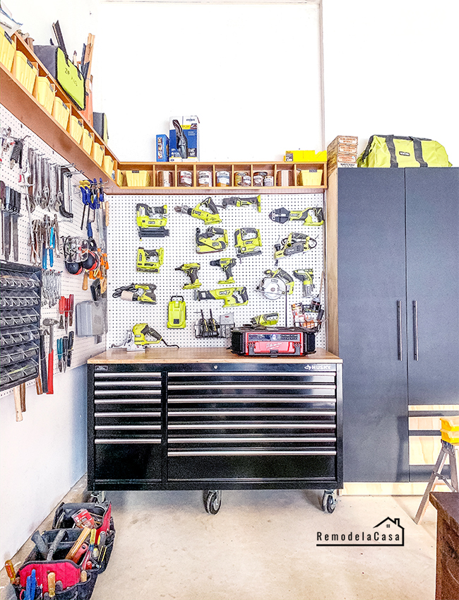 Husky storage chest - drill charging station and pegboard