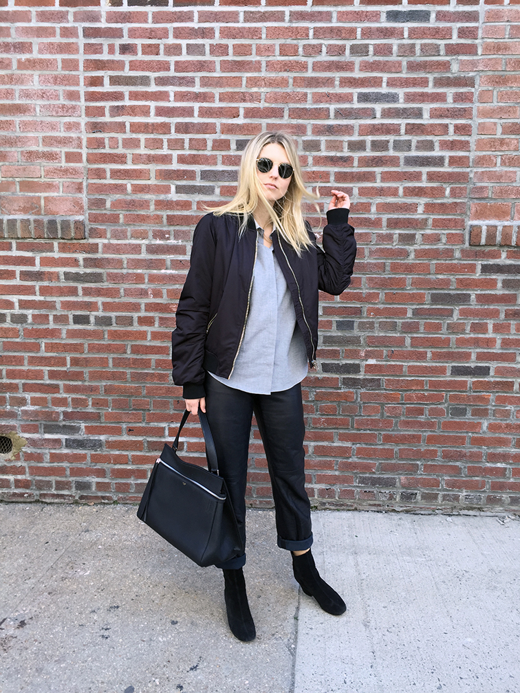 Zady shirt, Celine Edge bag, Miu Miu leather pants, Free People boots, Topshop bomber jacket, Ray-Ban Lennon sunglasses