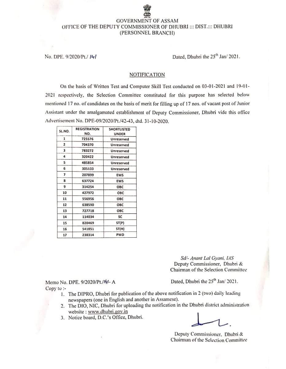 DC Dhubri Result 2021