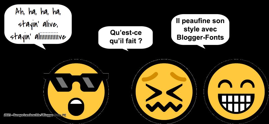 Blogger Humour - Smiley-Travolta s'entraine avec Blogger-Fonts.