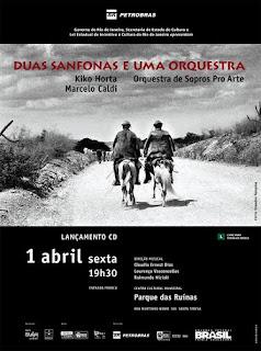 Orquestra de Sopros Pro Arte lança CD com os acordeonistas, Marcelo Caldi e Kiko Horta, dia 01 de abril, sexta-feira, no Parque das Ruínas