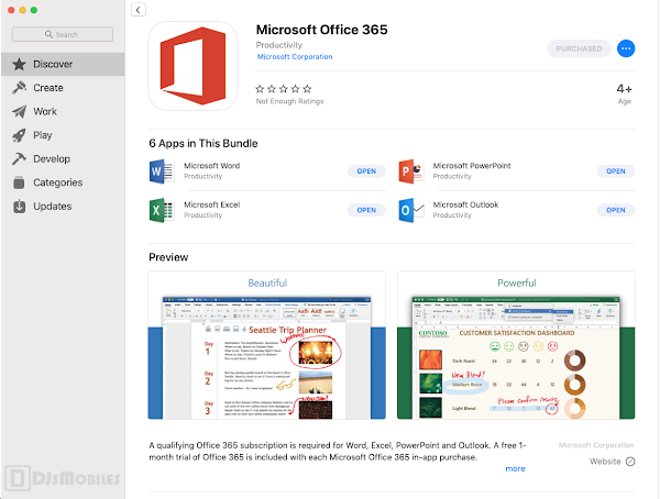 Microsoft Office 365 on the Mac App Store