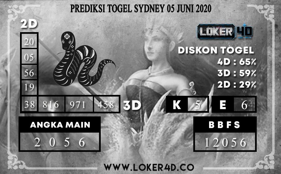 PREDIKSI TOGEL SYDNEY 05 JUNI 2020