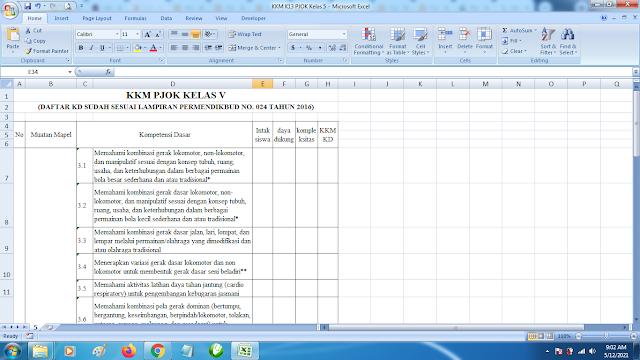 Download Contoh KKM K13 Kelas 5 SD Kurikulum 2013 Terbaru
