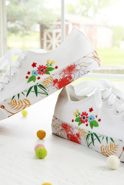 DIY floral embroidered tennis shoes