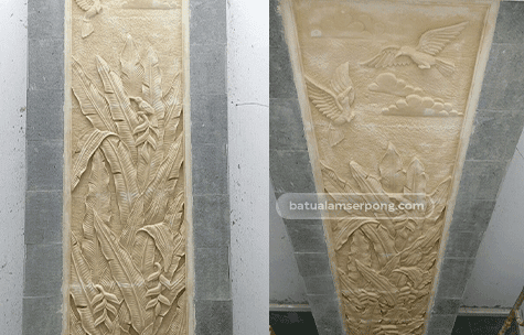 relief dinding batu alam