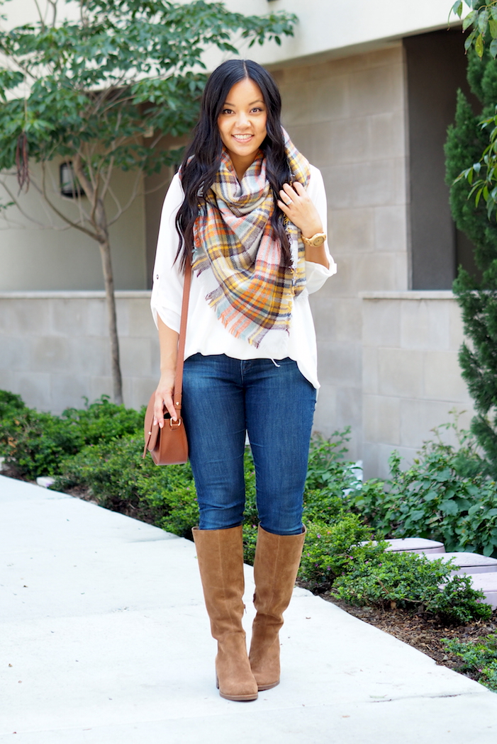 Jeans + Boot + Blanket Scarf + White Blouse