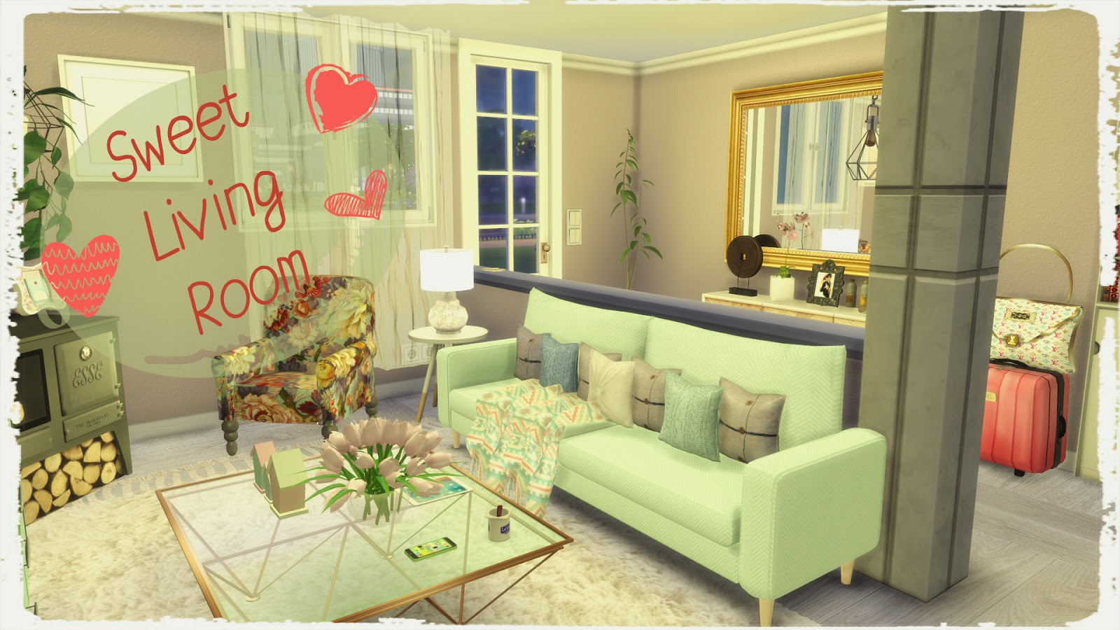 Sims 4 sweet living room dinha for Sims 4 living room ideas