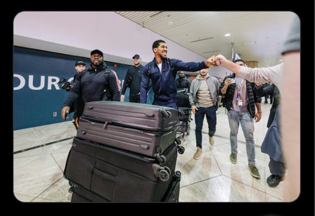 Anthony Joshua Arrives Saudi Arabia Ahead Of Rematch Against Andy Ruiz Jr (Photo)