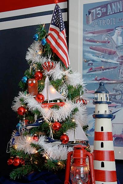 Red Striped Decorative Lighthouse Nautical Decor