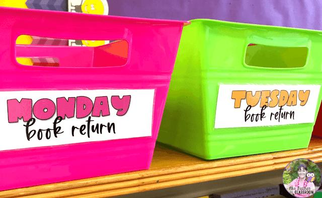 Classroom library quarantine bins.