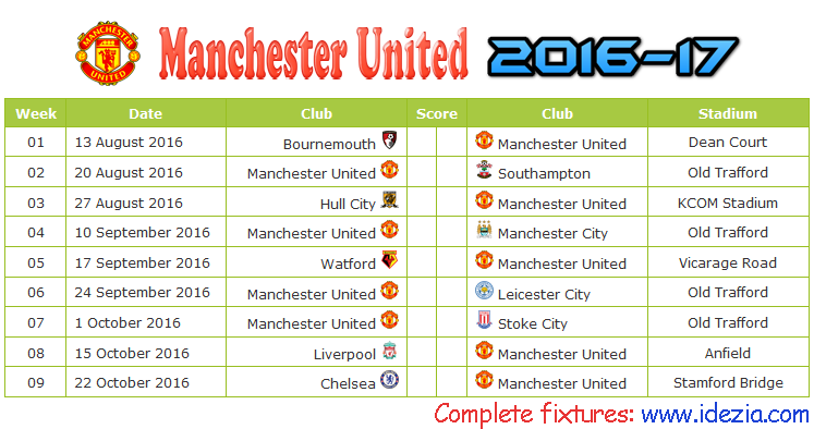 Download Jadwal Manchester United 2016-2017 File JPG - Download Kalender Lengkap Pertandingan Manchester United 2016-2017 File JPG - Download Manchester United Schedule Full Fixture File JPG - Schedule with Score Coloumn