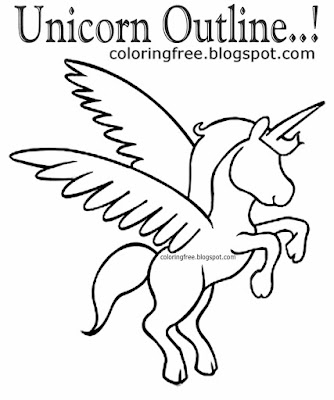 Printable clipart unicorn outline basic sketch mythical coloring illustrations for teenagers drawing