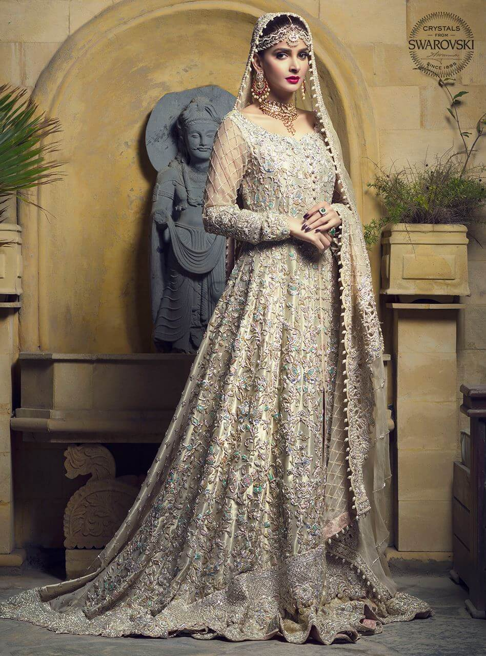 Bridal Gold Lame Gown by Zainab Chottani Walima Collection