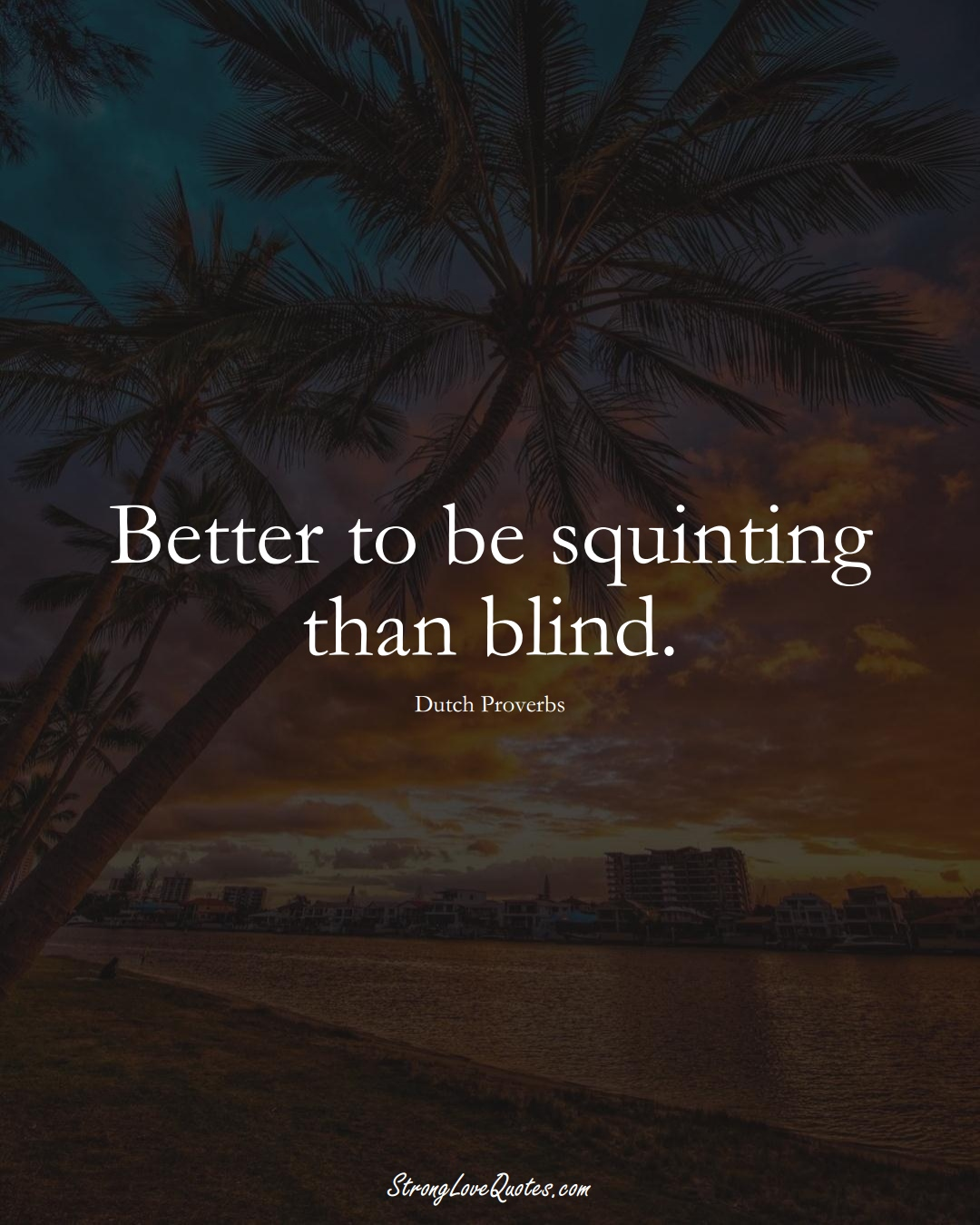 Better to be squinting than blind. (Dutch Sayings);  #EuropeanSayings