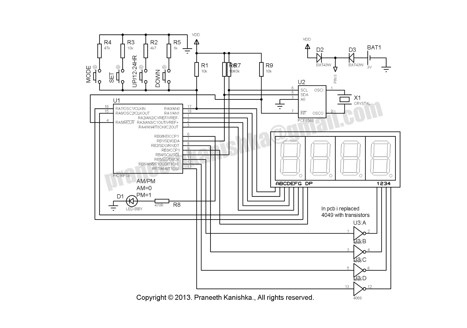 Pcf Real Time Seven Segment Clock Circuit