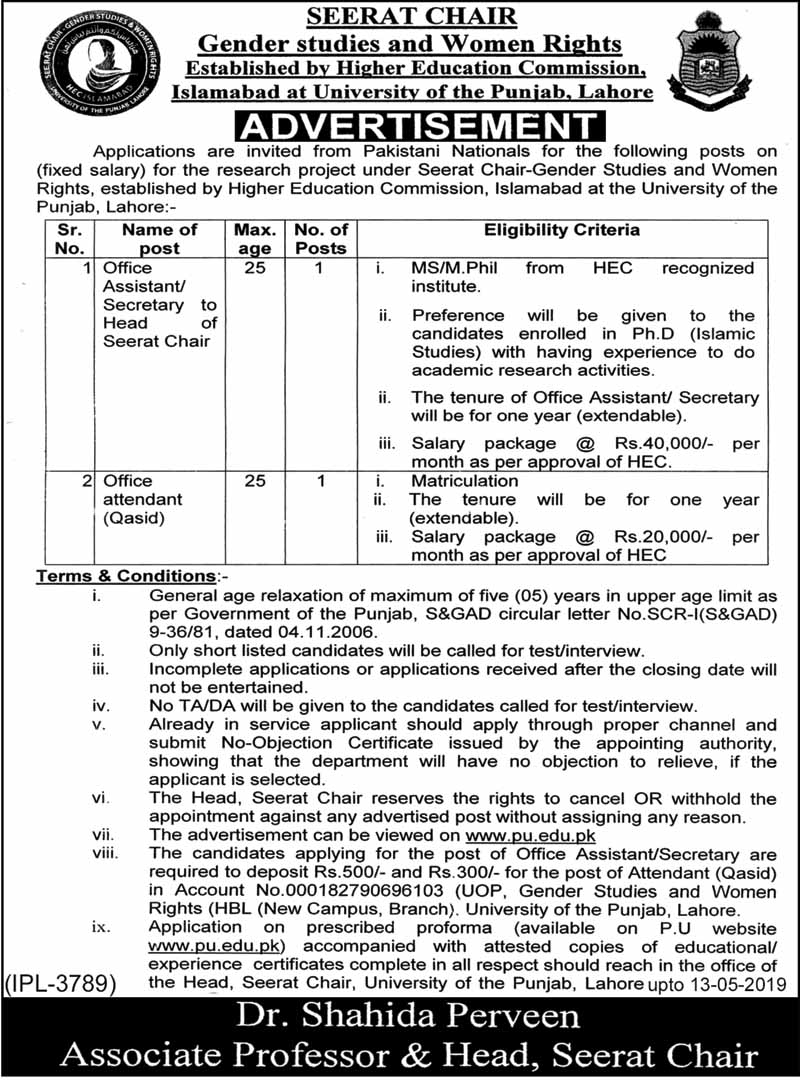 Jobs in University of the Punjab April 2019