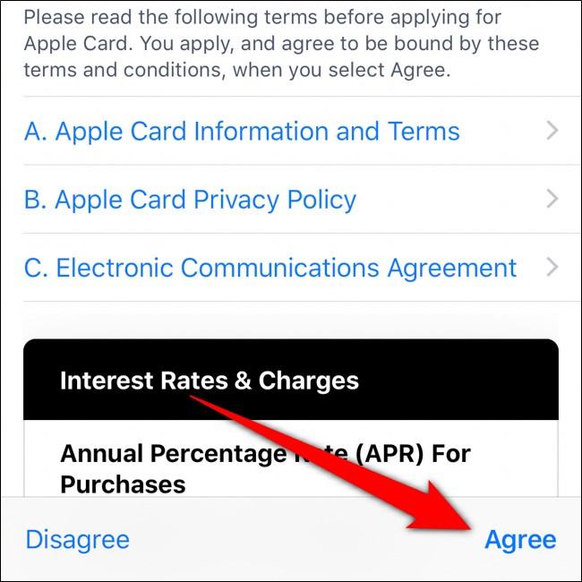 قراءة محفظة iPhone والاتفاق على الشروط والاتفاقيات