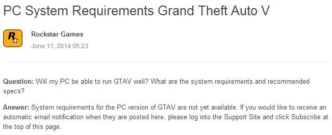 Spesifikasi PC untuk Memainkan GTA V