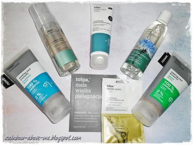 - Peeling pod prysznic, nawilżona skóra, specialist (Tołpa) - Matująca pianka do mycia twarzy, dermo face, strefa T (Tołpa) - Normalizująca pianka do mycia twarzy, dermo face, sebio (Tołpa) - Łagodny płyn micelarny-tonik 2w1, green, oczyszczanie (Tołpa) - Peeling pod prysznic, jędrna skóra, specialist (Tołpa) - Saszetka z odnawiającym peelingiem-masażem do rąk, dermo mani (Tołpa)