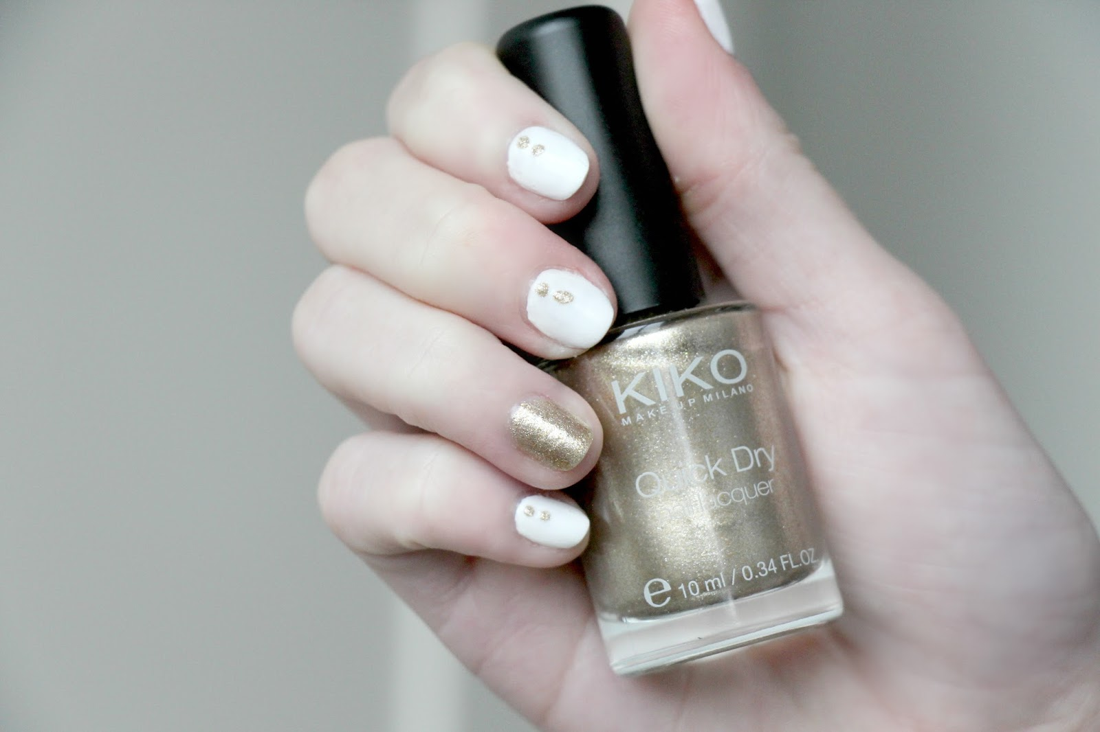 White and gold nail art